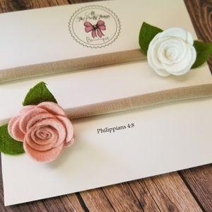 Felt Flower Nylon Headband Set in Pink and White